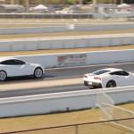 White Tesla S P85D vs White C7 Corvette Stingray in a new Drag Race