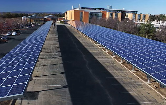 Carport solar system installed for a parking lot at UC Davis.
