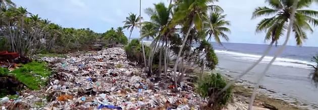 plastic waste in the ocean water